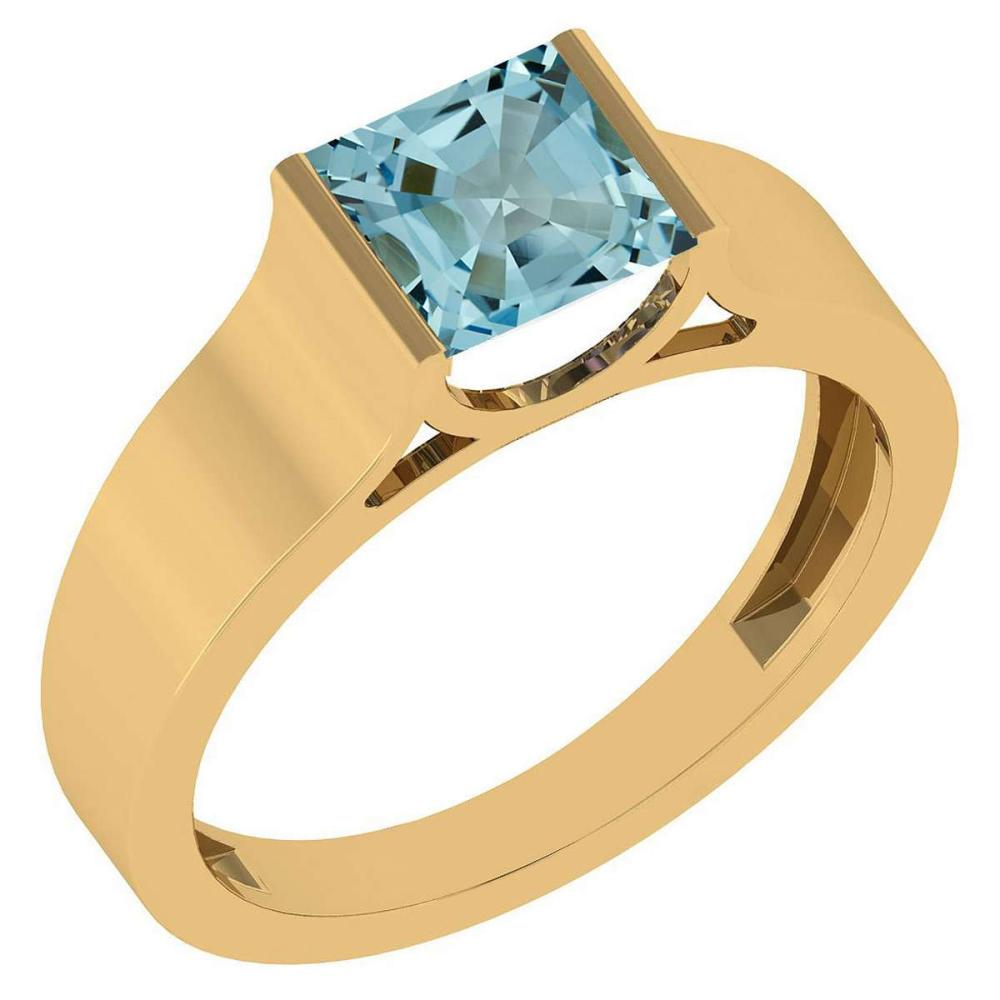 Certified 0.75 Ctw Aquamarine 18k Yellow Gold Ring
