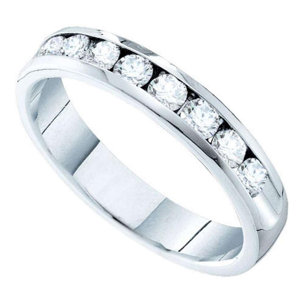 14k White Gold Womens Round Channel-set Diamond 4mm Wedding Band 3/4 Cttw