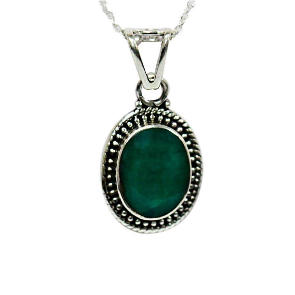 BEAUTIFUL SILVER PENDANT WITH GREEN EMERALD CTW 3.79