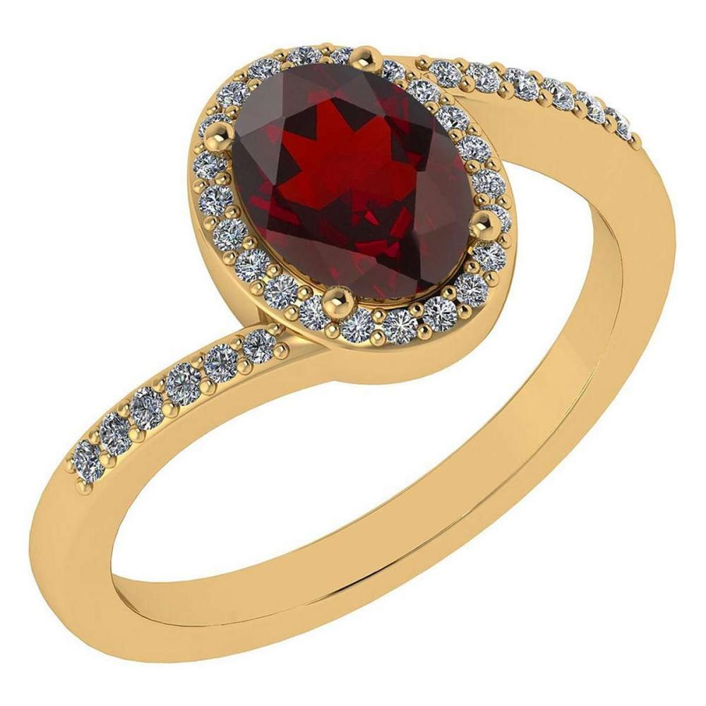 Certified 1.44 Ctw Garnet And Diamond 14k Yellow Gold Halo Ring G-H VS/SI1