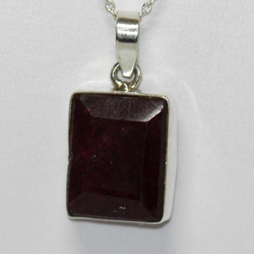BEAUTIFUL SILVER PENDANT WITH RED RUBY STONE CTW 9.90