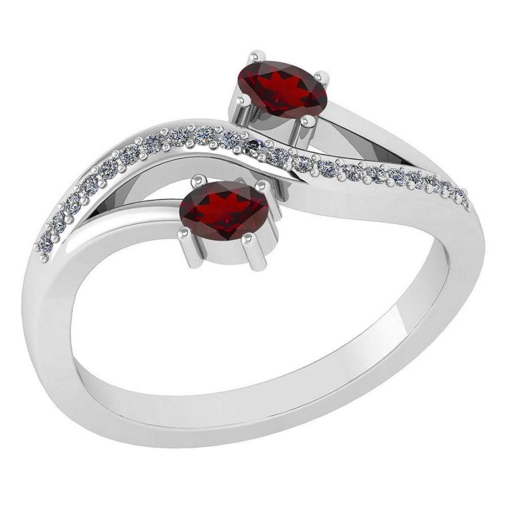 Certified 0.53 Ctw Garnet And Diamond 14k White Gold Halo Ring G-H VS/SI1