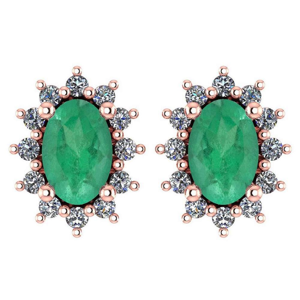 Certified 1.24 Ctw Emerald And Diamond 14k Rose Gold Halo Stud Earrings