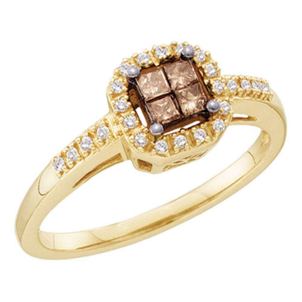 14k Yellow Gold Princess Brown Color Enhanced Diamond Cluster Ring 1/4 Ctw