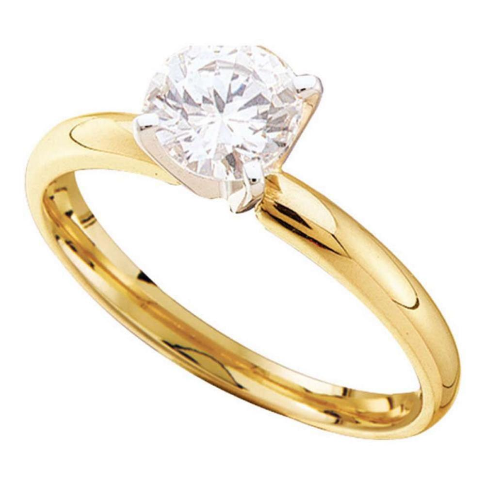 14kt Yellow Gold Round Diamond Solitaire Bridal Wedding Engagement Ring 1/2 Ctw