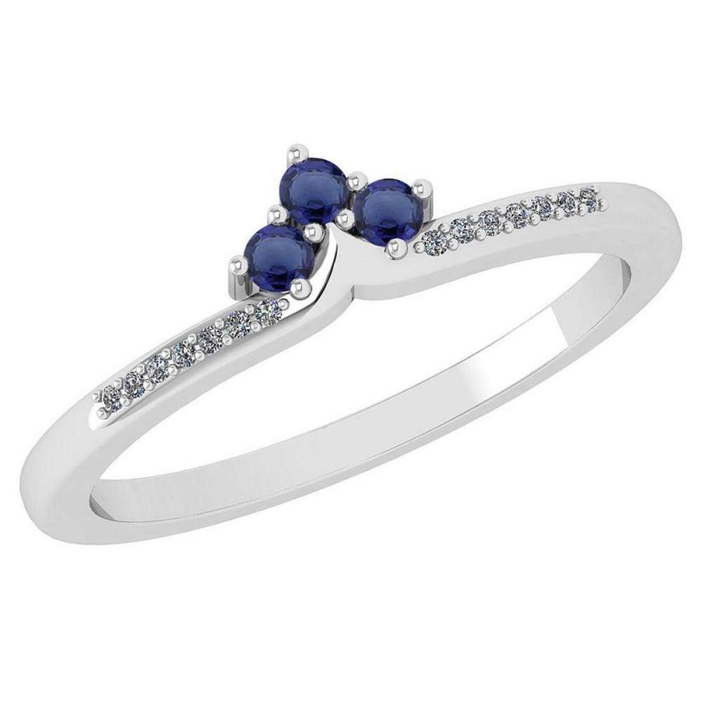 Certified 0.13 Ctw Blue Sapphire And Diamond 14k White Gold Halo Ring VS/SI1