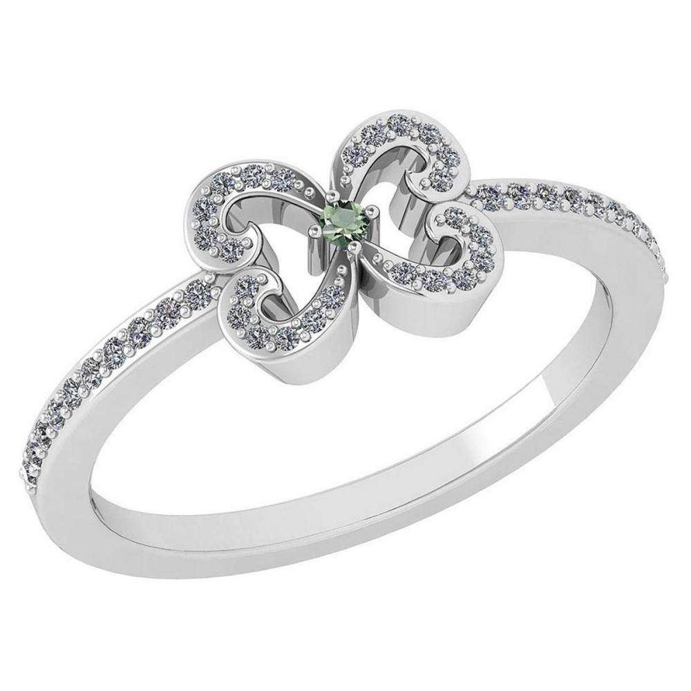 Certified 0.24 Ctw Peridot And Diamond 14k White Gold Halo Ring VS/SI1