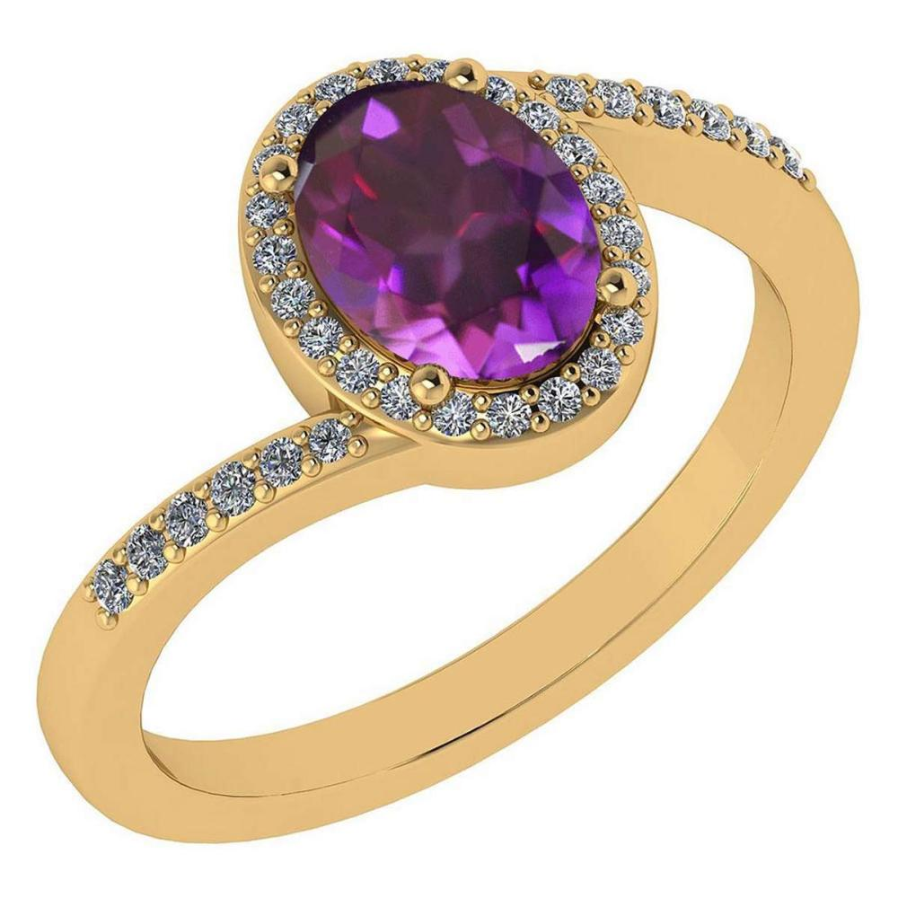 Certified 1.44 Ctw Amethyst And Diamond 14k Yellow Gold Halo Ring G-H VS/SI1