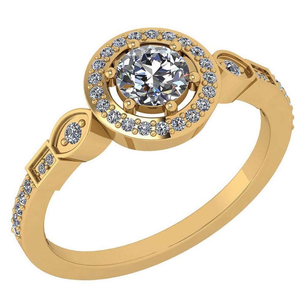 Certified 0.65 Ctw Diamond 14k Yellow Gold Halo Ring