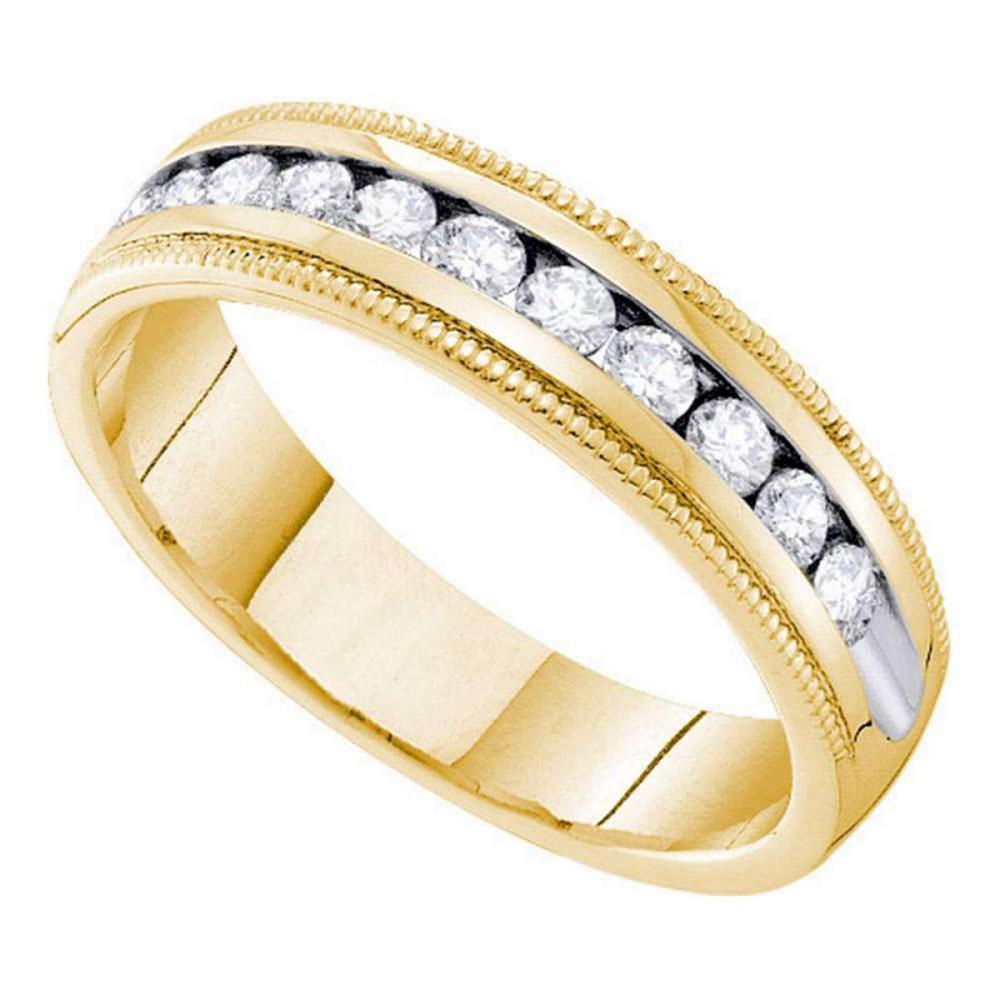 14k Yellow Gold Womens Round Channel-set Diamond Milgrain Wedding Band 1/4 Cttw