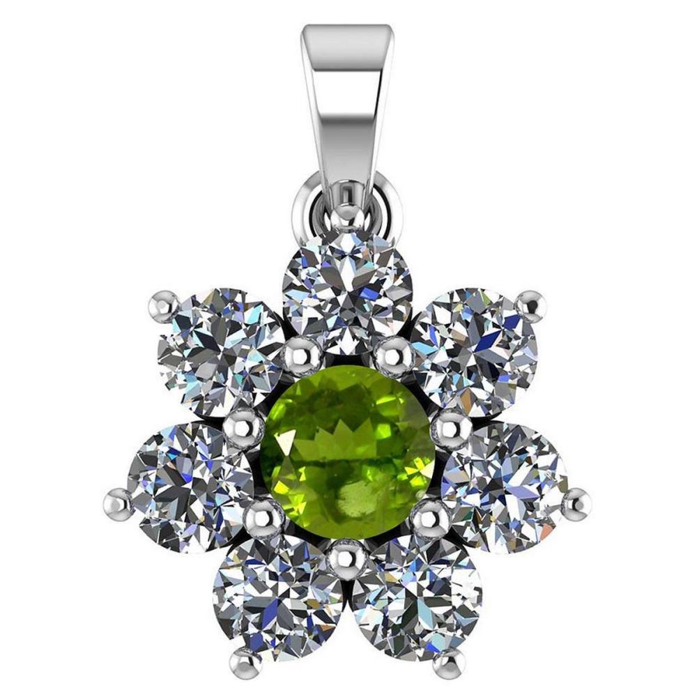 Certified 0.93 Ctw Peridot And Diamond 18K White Gold Halo Pendant G-H VS/SI1