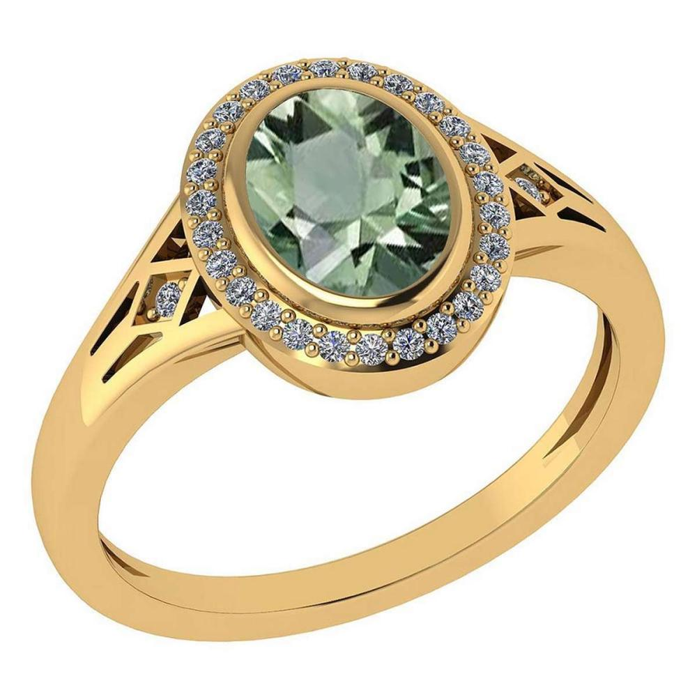 Certified 1.39 Ctw Green Amethyst And Diamond 14k Yellow Gold Halo Ring G-H VS/SI1