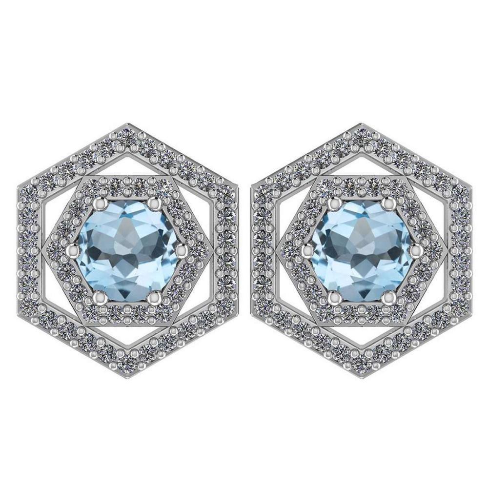 Certified 1.38 Ctw Aquamarine And Diamond Platinum Halo Stud Earrings