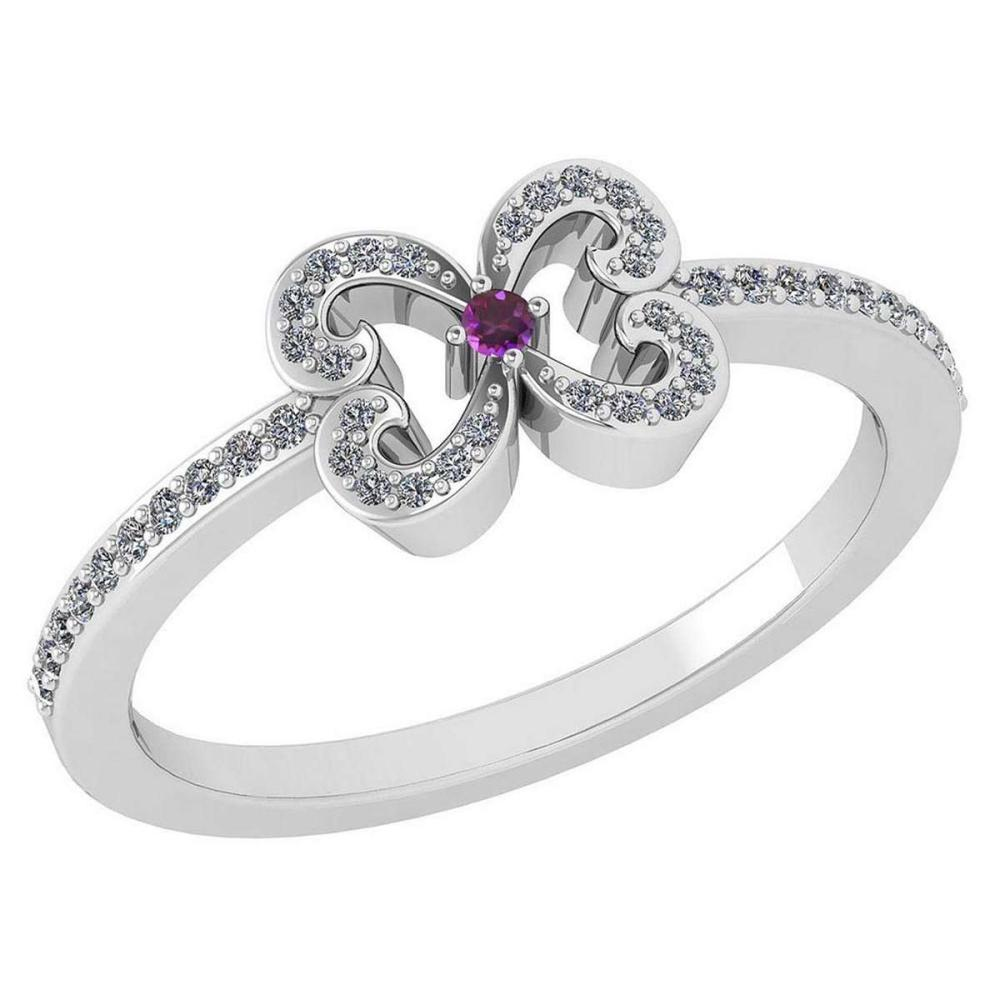 Certified 0.24 Ctw Amethyst And Diamond 14k White Gold Halo Ring VS/SI1