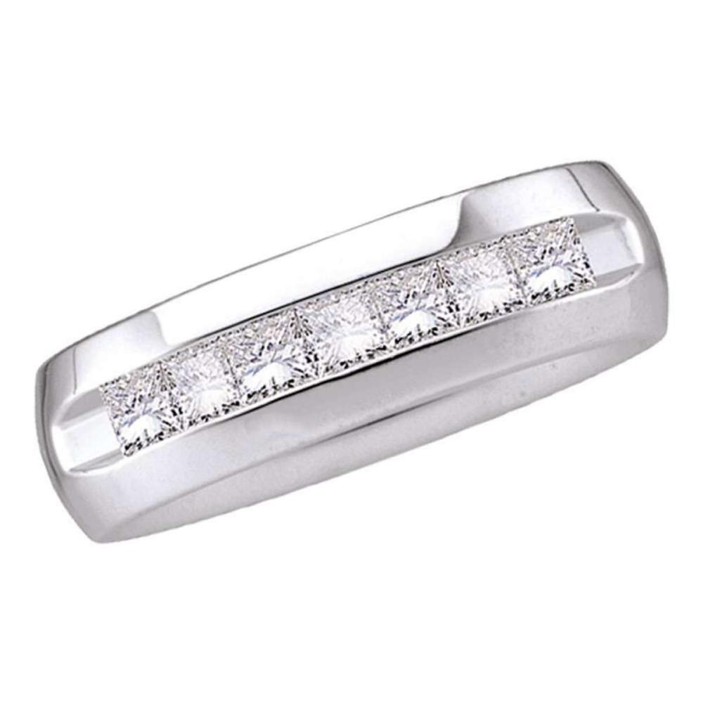 14k White Gold Mens Princess Diamond Band Wedding Anniversary Ring 1-1/2 Ctw