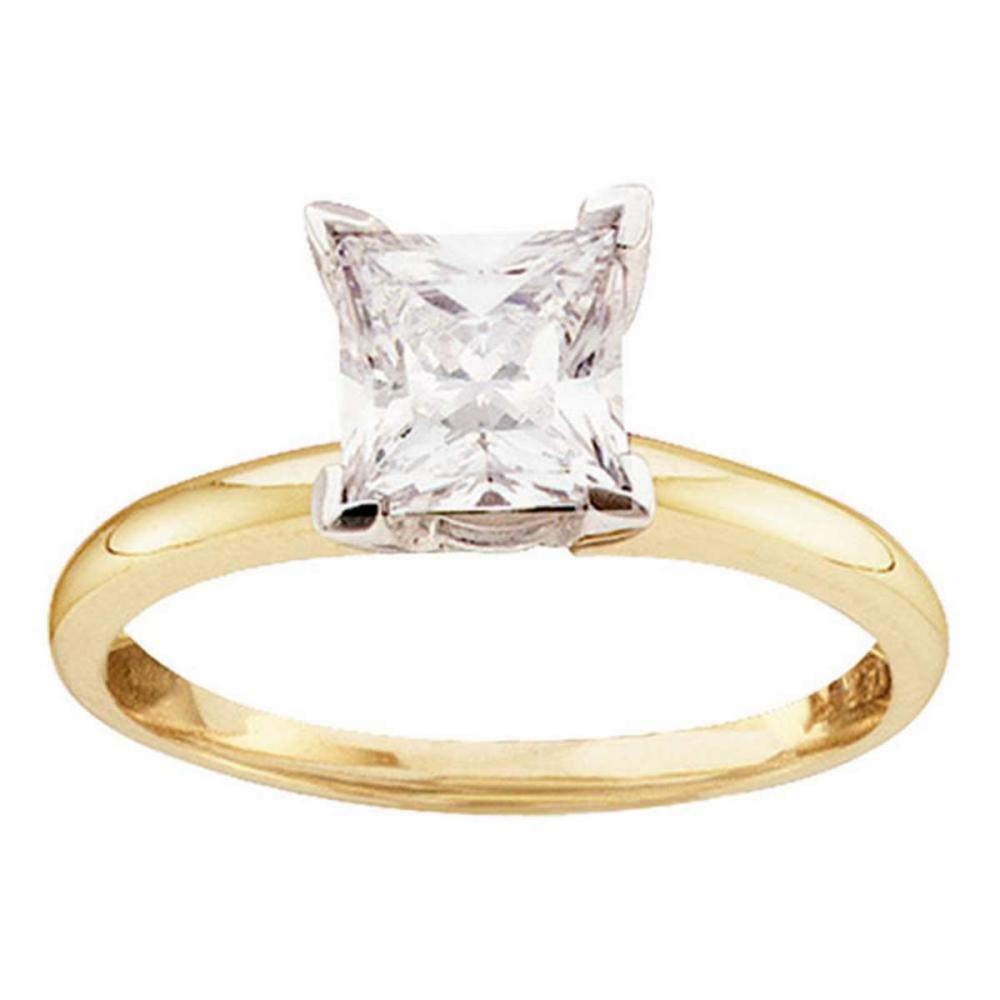 14k Yellow Gold Princess Diamond Solitaire Bridal Wedding Engagement Ring 1/2