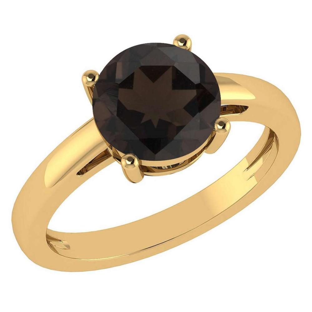 Certified 1.00Ctw Genuine Smoky Quarzt 14k Yellow Gold Halo Ring