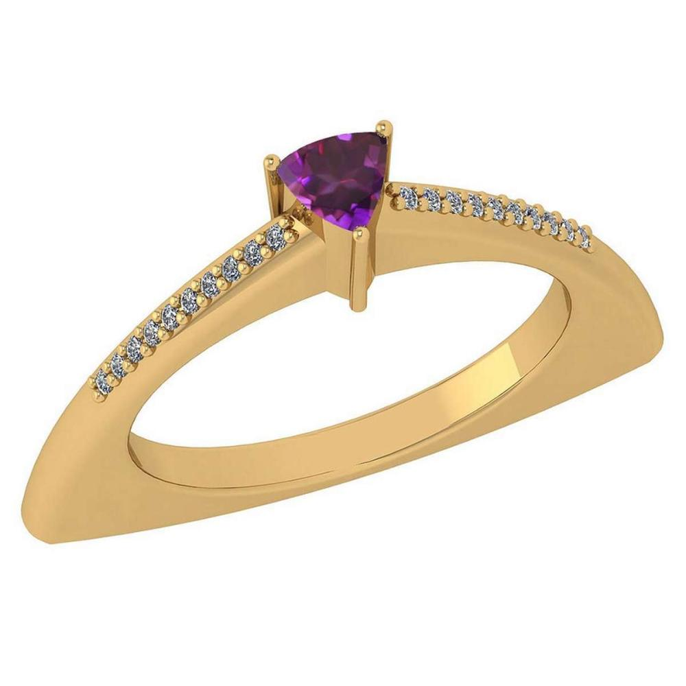 Certified 0.35 Ctw Amethyst And Diamond 14k Yellow Gold Halo Ring