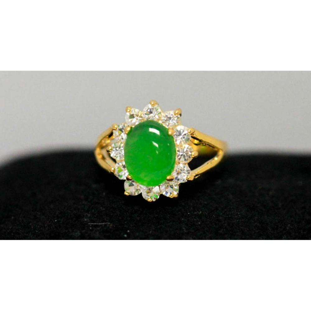 14K GOLD PLATED SYNTETIC JADE RING W/CZ