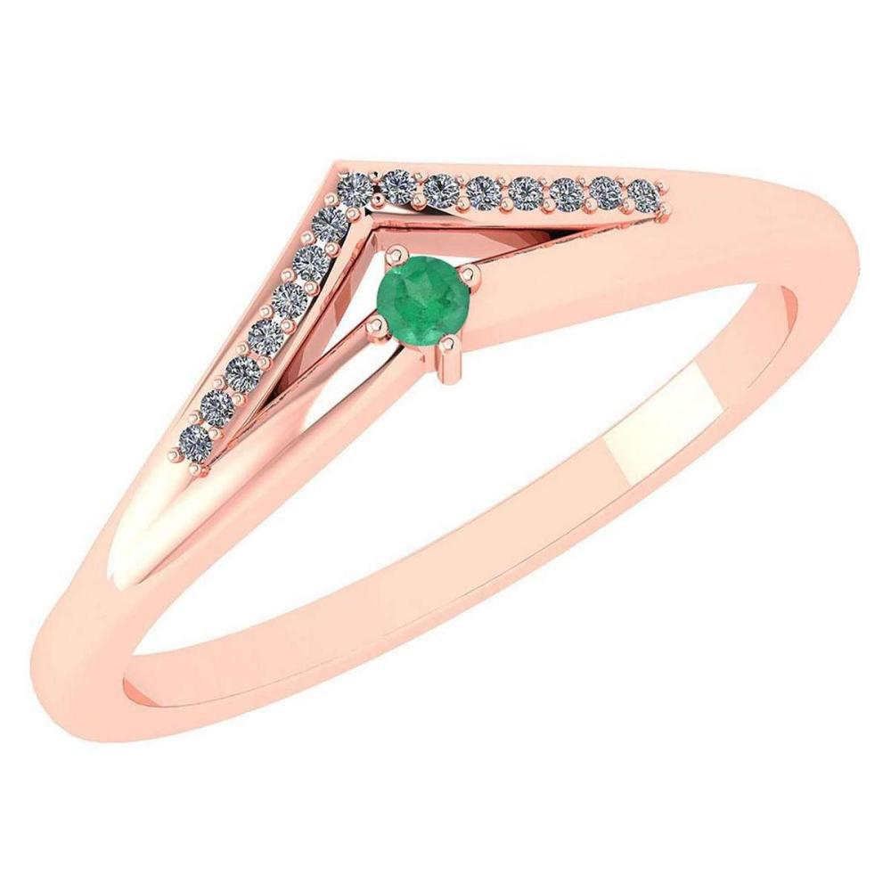 Certified 0.07 Ctw Emerald And Diamond 14k Rose Gold Halo Ring VS/SI1