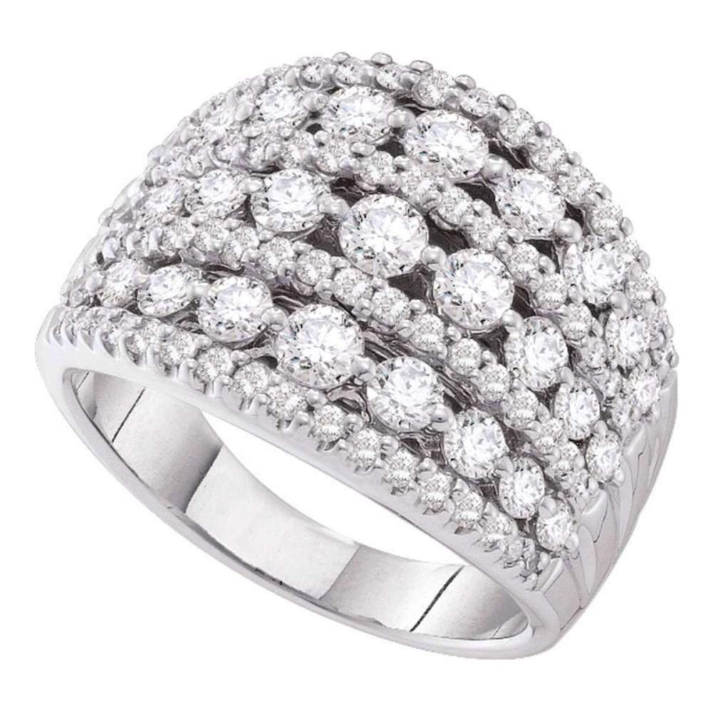 14k White Gold Womens Round Pave-set Diamond Wide Fashion Band Ring 3.00 Cttw