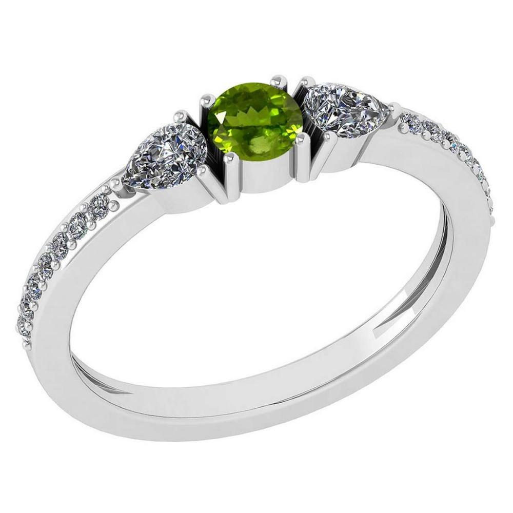 Certified 0.78 Ctw Peridot And Diamond 14k White Gold Halo Ring G-H VS/SI1