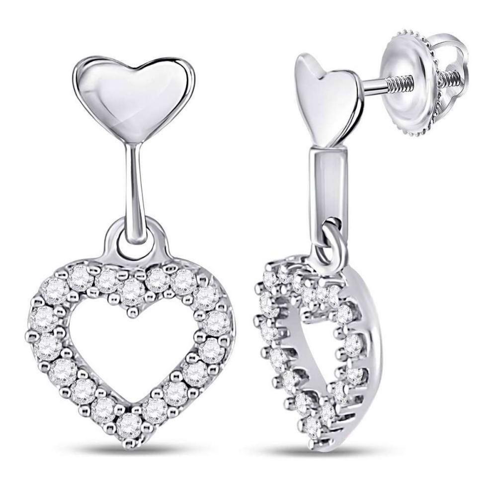 10k White Gold Womens Round Diamond Small Heart Dangle Screwback Earrings 1/5