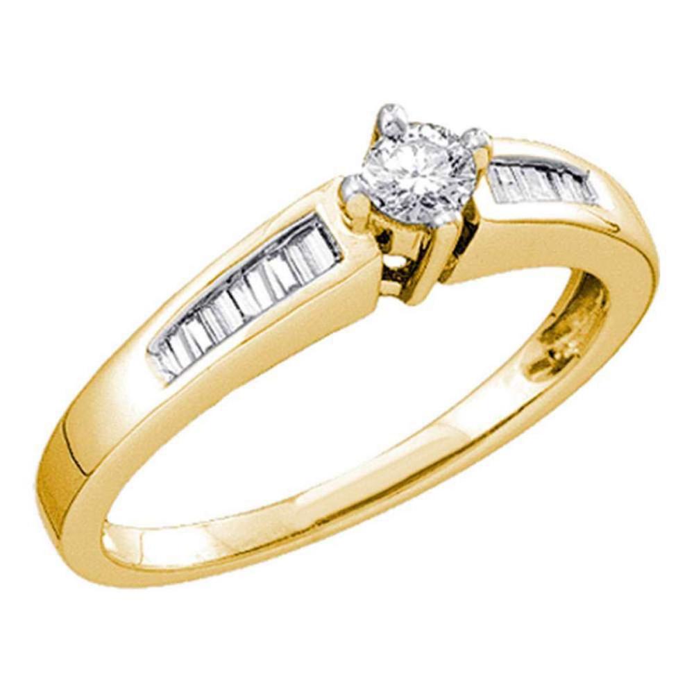 10k Yellow Gold Round Diamond Solitaire Bridal Wedding Engagement Ring 1/3 Ctw