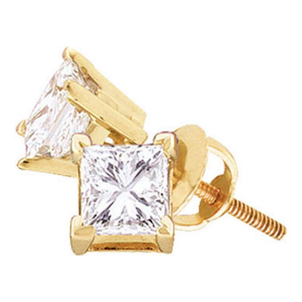 14kt Yellow Gold Womens Princess Diamond Solitaire Stud Earrings 1.00 Cttw