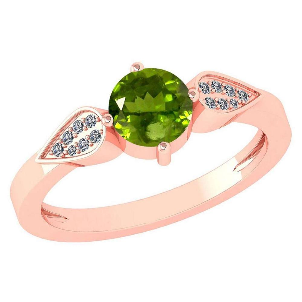 Certified 1.12 Ctw Peridot And Diamond 14k Rose Gold Halo Ring VS/SI1