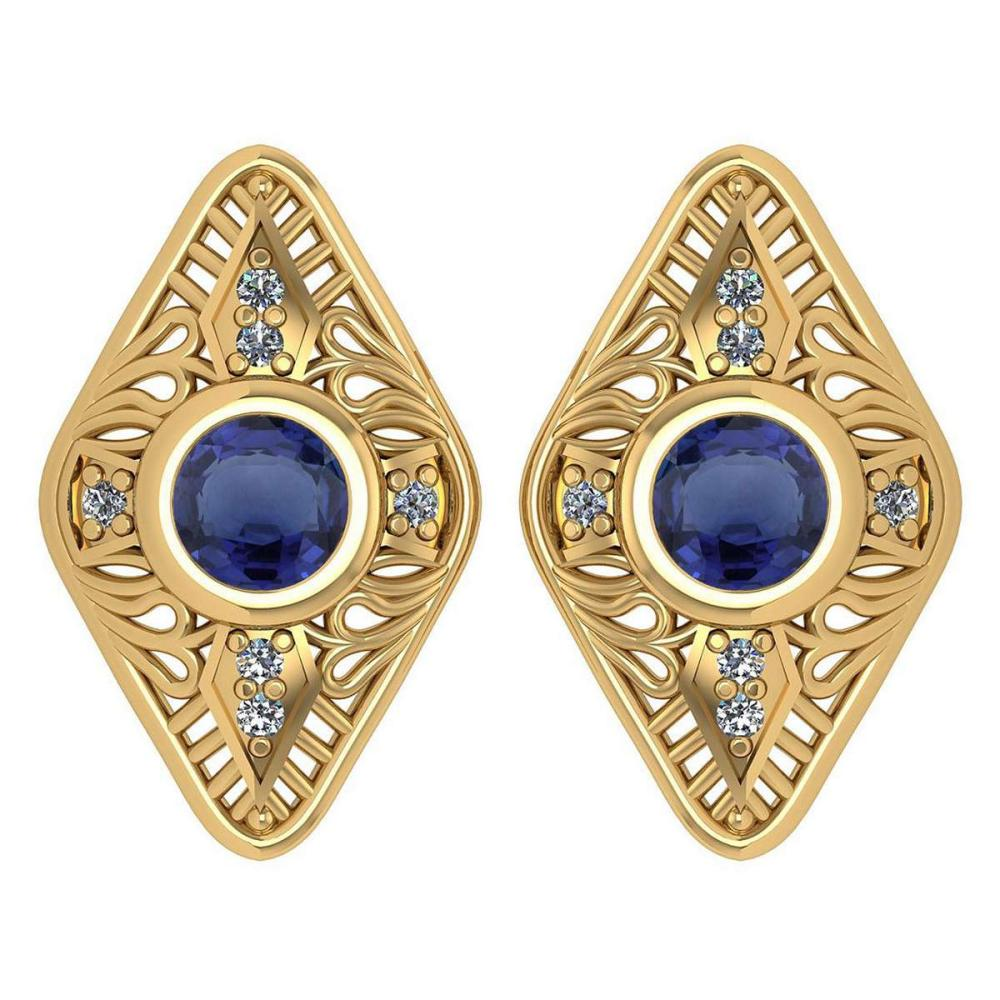 Certified 1.46 Ctw Blue Sapphire And Diamond 18k Yellow Gold Halo Stud Earring