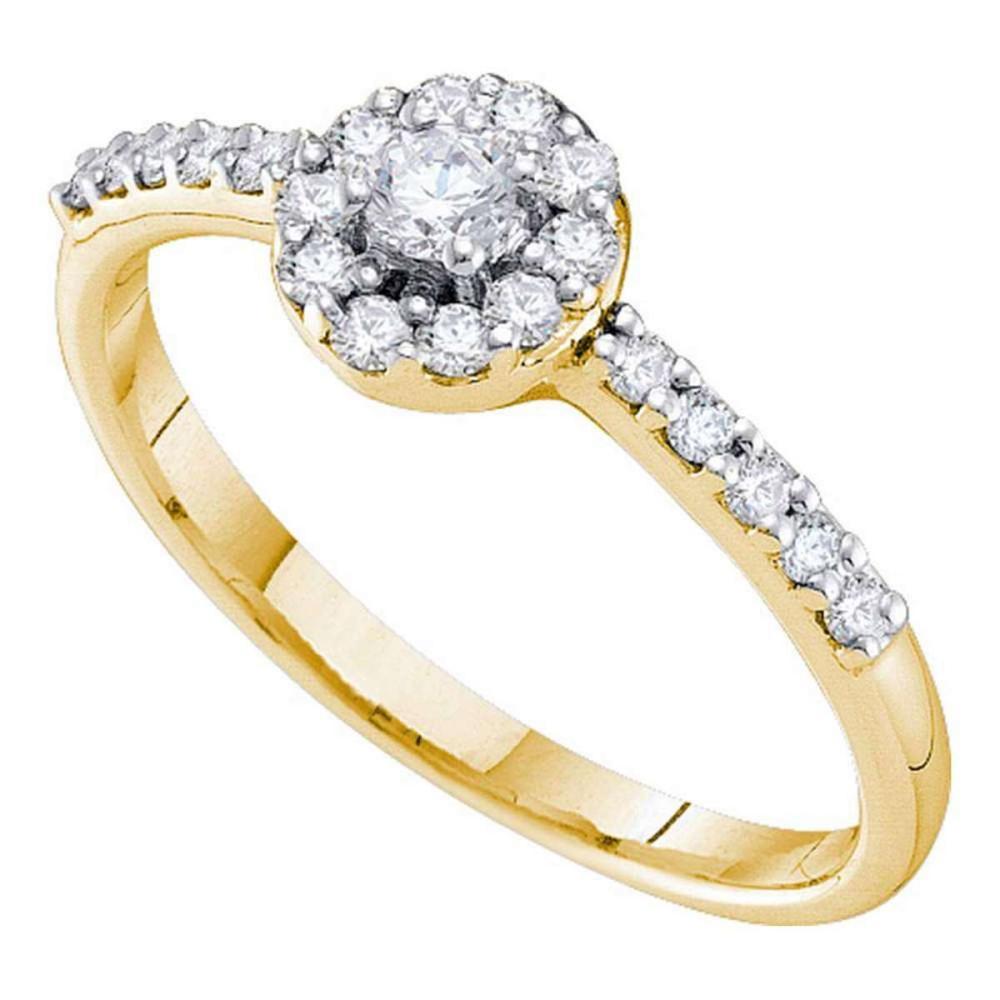 14k Yellow Gold Round Diamond Solitaire Bridal Wedding Engagement Ring 1/3 Ctw