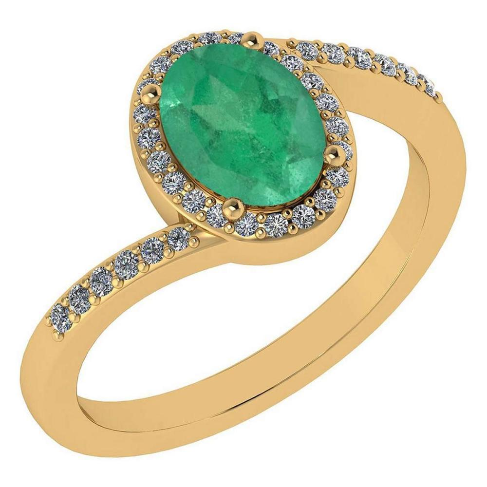 Certified 1.44 Ctw Emerald And Diamond 14k Yellow Gold Halo Ring G-H VS/SI1