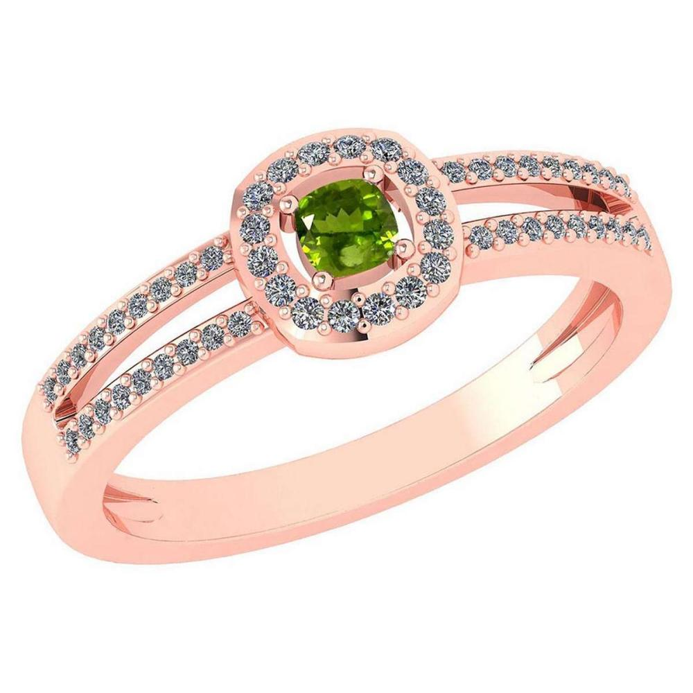Certified 0.57 Ctw Peridot And Diamond 14k Rose Gold Halo Ring VS/SI1