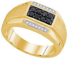 10kt Yellow Gold Mens Round Black Colored Diamond Rectangle Cluster Ring 3/8 Cttw