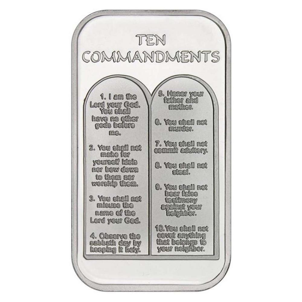 Lot 1001: Ten Commandments .999 Silver 1 oz Bar