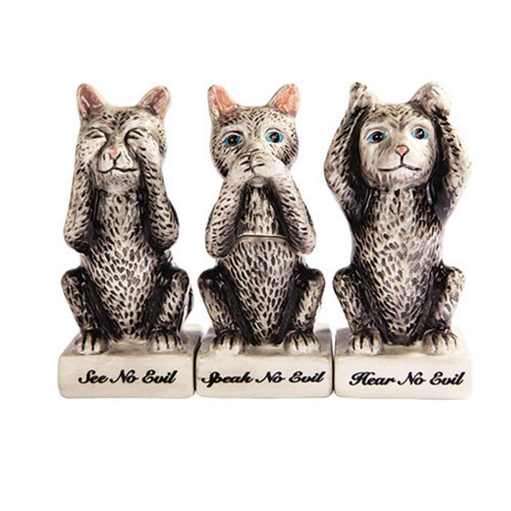 Lot 1016: NO EVIL KITTIES SP W/ TOOTHPICK HOLDER