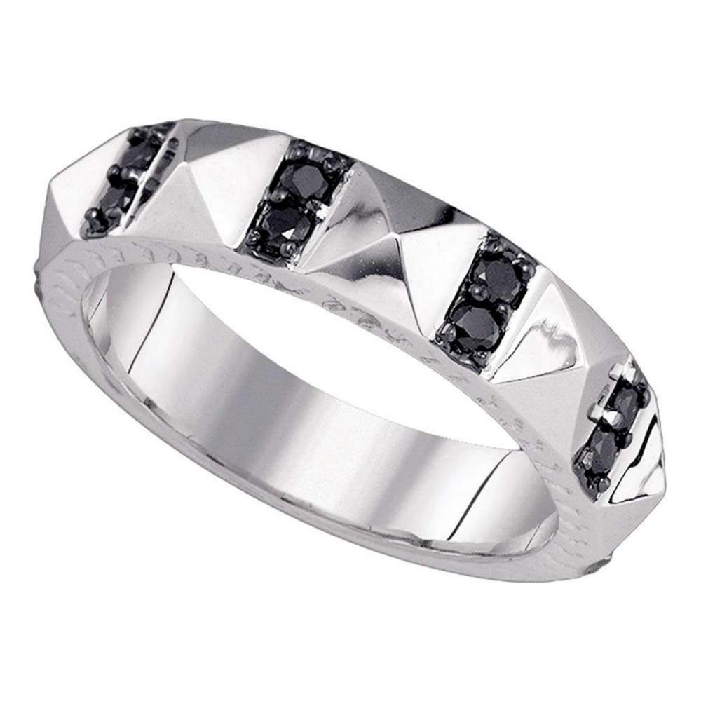 Lot 1019: 10k White Gold Womens Round Black Color Enhanced Diamond Band Ring 3/8 Cttw