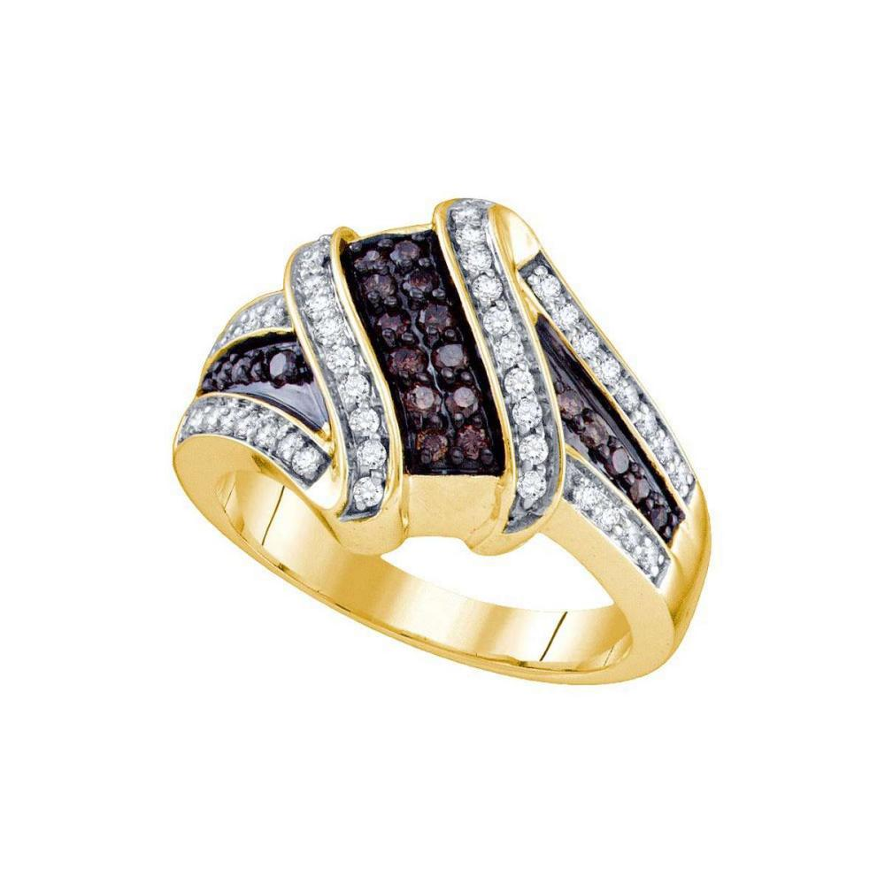10kt Yellow Gold Womens Round Brown Color Enhanced Diamond Crossover Ring