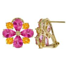 Lot 1023: 4.85 Carat 14K Solid White Gold French Clips Earrings Pink Topaz Citrine