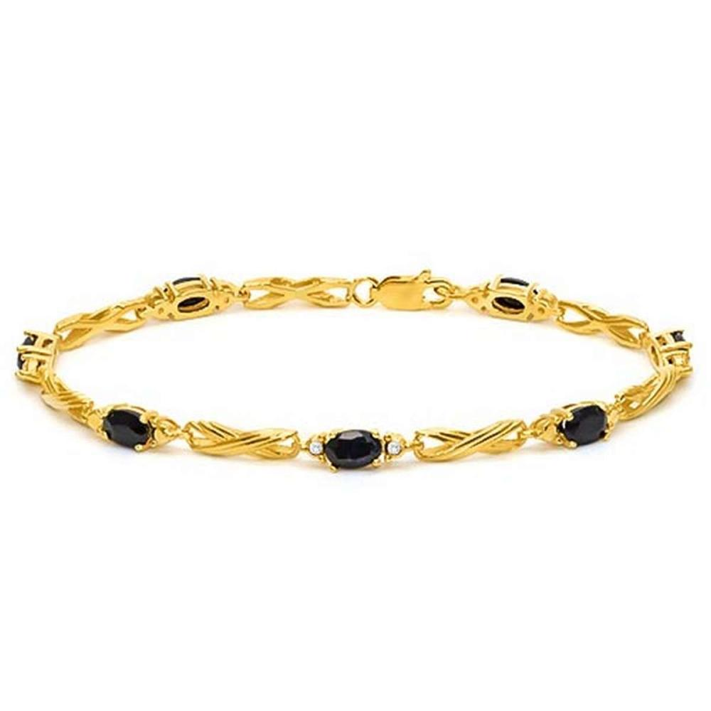 4.12 CTW MID NIGHT BLACK SAPPHIRE 925 STERLING SILVER YELLOW GOLD PLATED BRACELETT