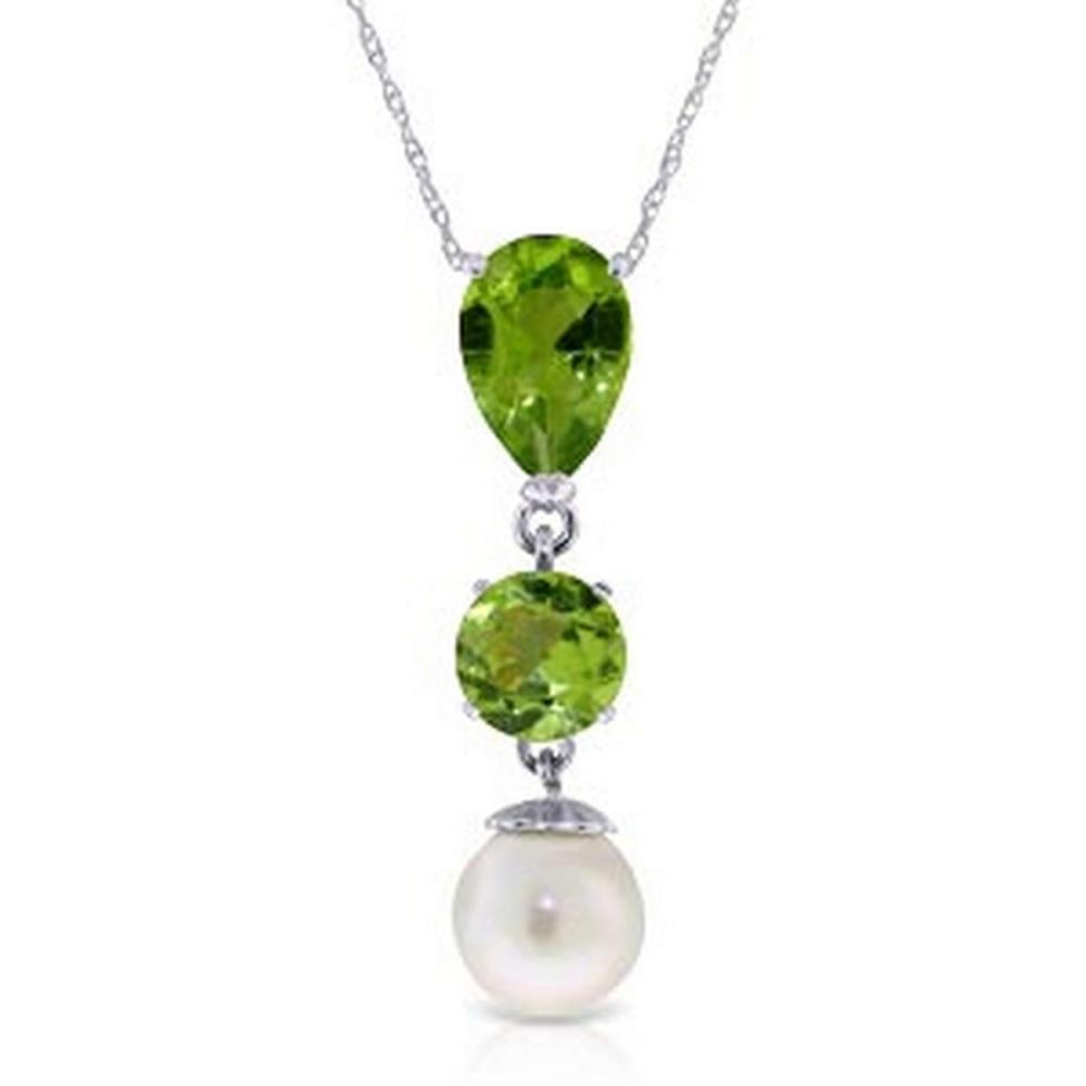 5.25 Carat 14K Solid White Gold Chat Blanc Peridot pearl Necklace