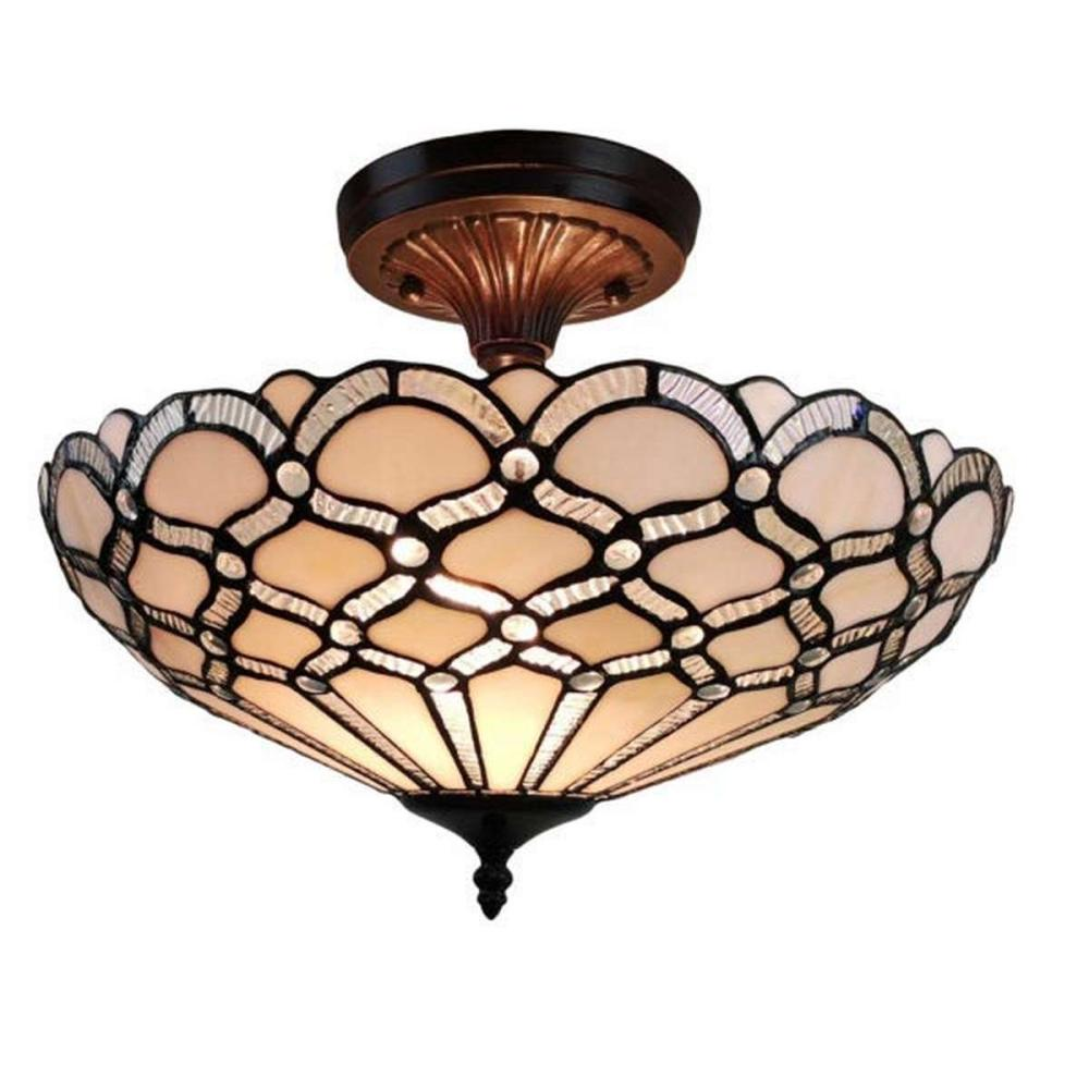 LIGHTINGTIFFANY STYLE CEILING FIXTURE LAMP 17 IN WIDE