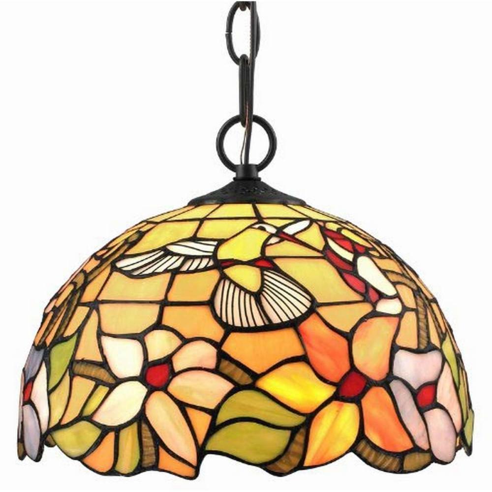 Lot 1035: LIGHTING TIFFANY STYLE HUMMINGBIRD 1-LIGHT PENDANT LAMP