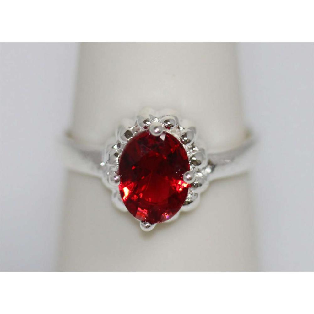 RED CZ .925 STERLING SILVER RING