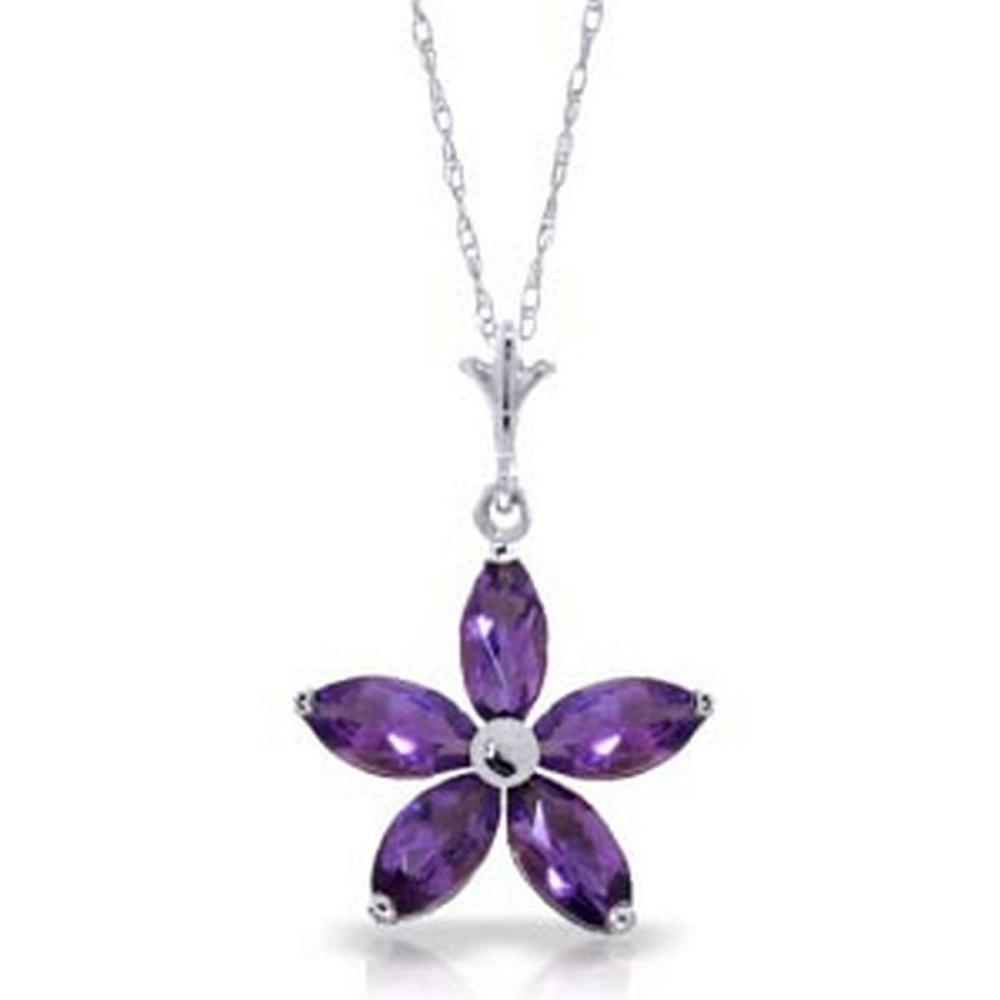 1.4 CTW 14K Solid White Gold I Summon You Amethyst Necklace