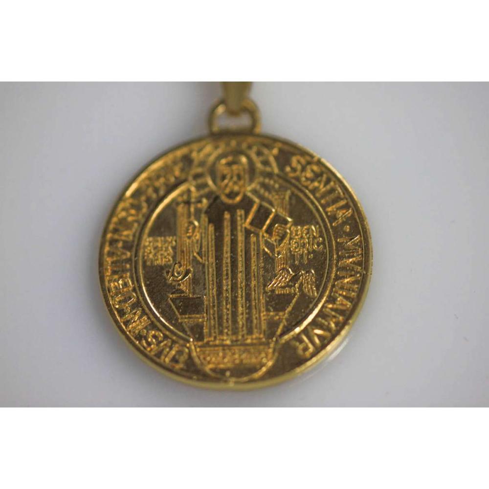 Lot 1044: 14K GOLD PLATED SANTA MUERTE PENDANT X2