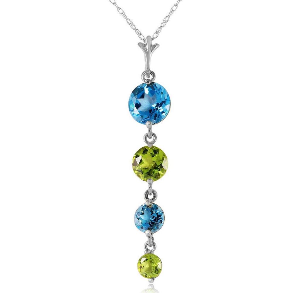 3.9 Carat 14K Solid White Gold Please Nod Blue Topaz Peridot Necklace