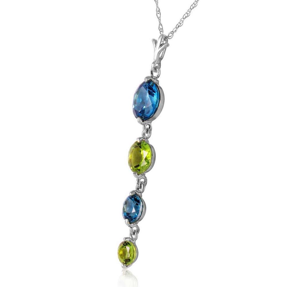 Lot 1045: 3.9 Carat 14K Solid White Gold Please Nod Blue Topaz Peridot Necklace