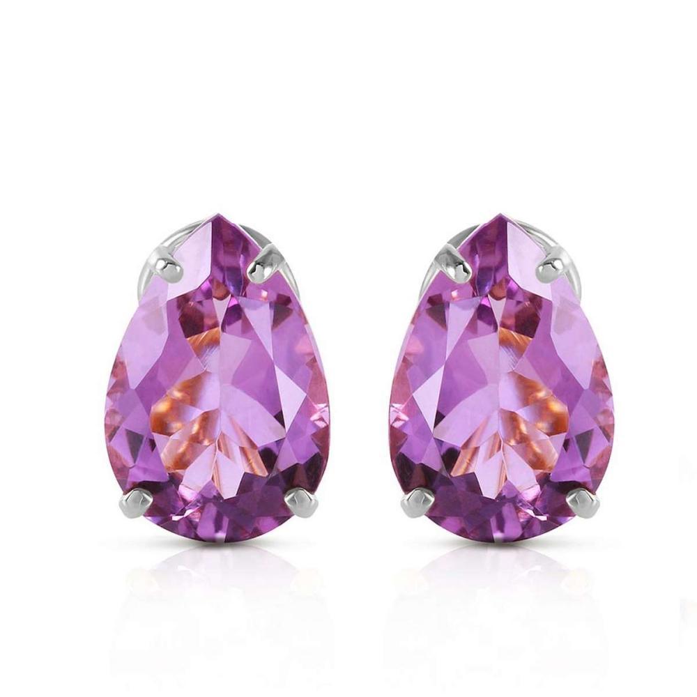 Lot 1046: 10 CTW 14K Solid White Gold Respect Amethyst Earrings